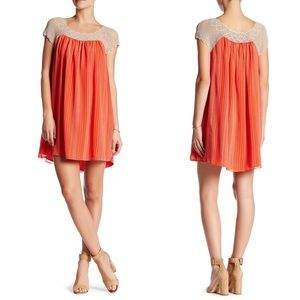 Joie Pajaro 100% silk shift dress in coral/red